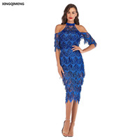 In Stock Sexy Royal Blue Sequined Cocktail Dress with Half Sleeve Elegant Formal Dress Cheap Simple Sparkly Split Prom Gown