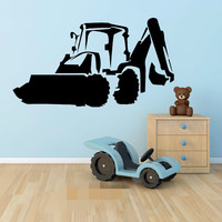 FREE SHIPPING JCB DIGGER EXCAVATOR WALL STICKER VINYL TRANSFER DECAL DOOR WINDOW FOR CHILDREN KIDS ROOM