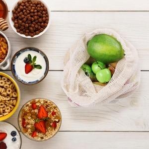 Image 4 - 9pcs/set Premium Organic Cotton Mesh Produce Bags Reusable Washable Storage Drawstring Bag for Shopping, Grocery,Fruit Vegetable