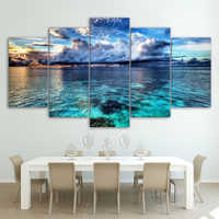 Canvas HD Modern Wall Art Home Decoration Living Room 5 Panel Sea Wave Landscape Print Painting Modular Pictures Poster Frame
