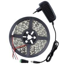 5050 5M LED Strip RGB DC12V 300Leds Lights Xmas String Ribbon Flexible light with 2A Power Adapter Supply with EU/US/AU/UK plug