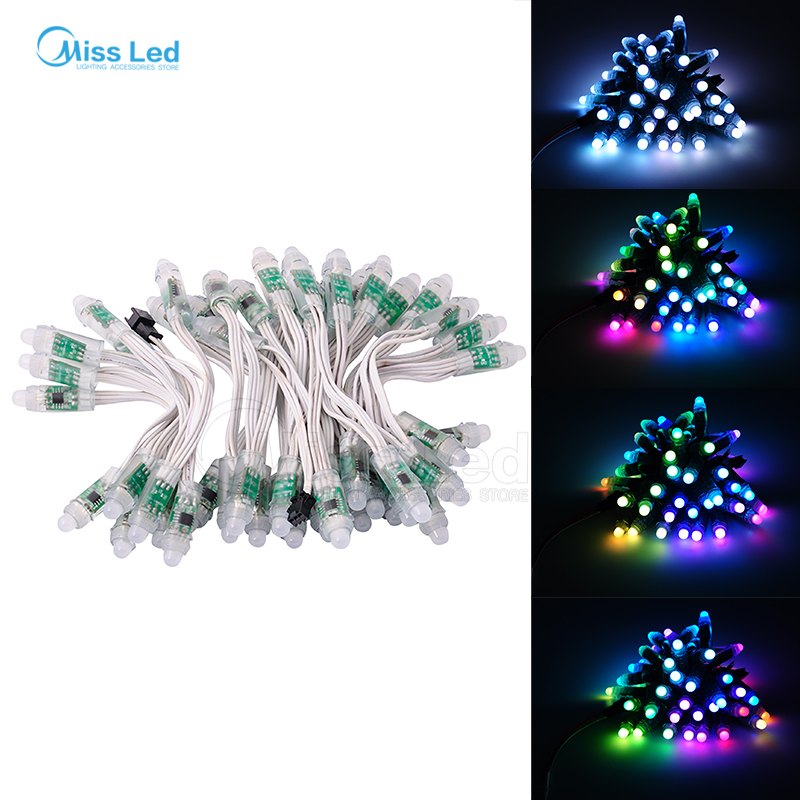 Expressive Express 50 Pcs/string 12mm White Cable Ws2811 Led Pixel Module,ip68 Waterproof Full Color Rgb Digital 2811 Ic Dc12v Input Utmost In Convenience