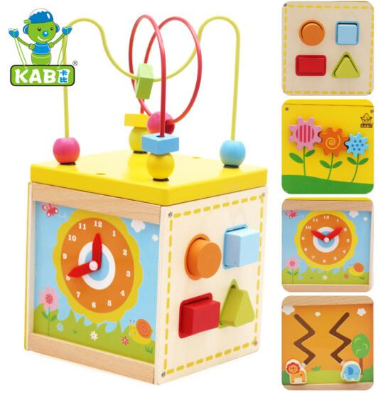 240b78a7268c Educational Baby Kids Wooden Around Beads learning shape clock puzzle box  Toddler Infant Intelligence Toys Gift