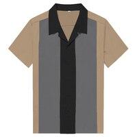 Plus Size Nova Chegada Mens Casual Sólidos Patch Work Casual camisas da Cor do Contraste Do Vintage Tops de Manga Curta Para O Sexo Masculino 95% algodão