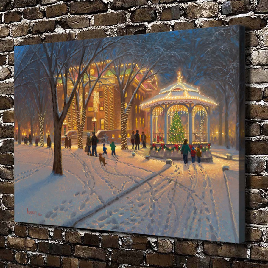 Impartial A0087 Christmas Snow City Night Scenery Home & Garden Hd Canvas Print Home Decoration Living Room Bedroom Wall Pictures Art Painting