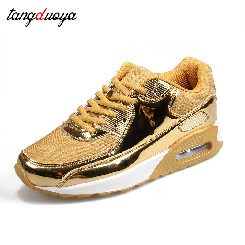 Fashion PU Leather Women Trainers Breathable Mesh Women Casual Shoes Women Vulcanize Shoes Gold Silver Women Shoes 44