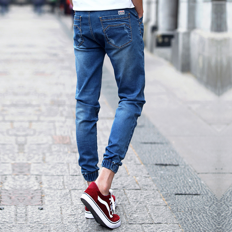 Blue water cleaning beam feet mens Ankle-Length jeans 27 28 29 30 31 32 33 34 36 Teen Fashion Casual Man Pants Slim Fit popular