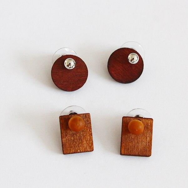 Free shipping Fashion jewelry natural font b wooden b font geometric log round rectangle shape font