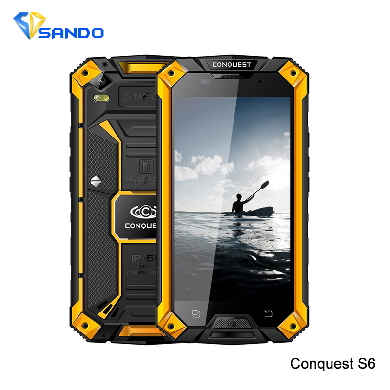 Original Conquest S6 2GB 16GB Quad Core Android4 4 ip68 5 0inch HD Rugged Waterproof Phone
