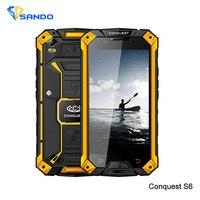 Oryginalny ip68 conquest s6 2 gb 16 gb quad core android4.4 5.0 cal hd wytrzymały wodoodporny telefon 6000 mah 4g gps nfc goryl szkła