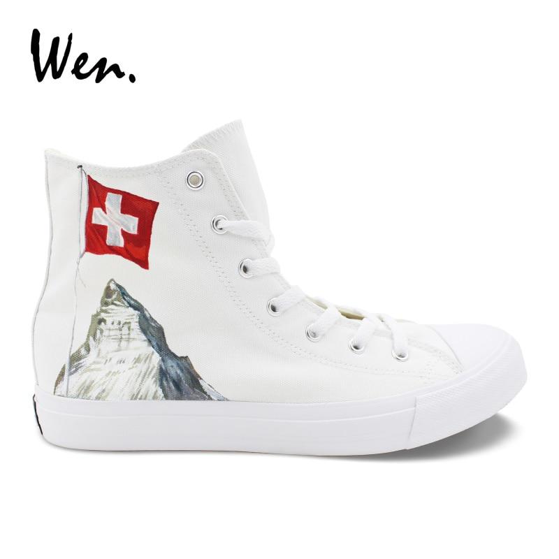 La Wen Des Tennis Main Drapeau Edelweiss Hommes Chaussures Alpes Toile Blanc Suisse Peint À Conception Vulcaniser Sneakers Personnalisé Femmes aqr4aw
