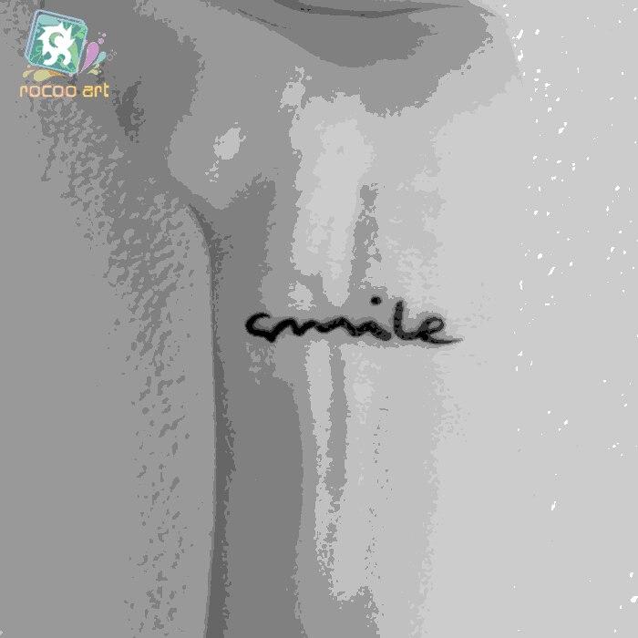 Hc-41 Водонепроницаемый Временные татуировки Стикеры Harajuku улыбка английские буквы шаблон Дизайн Для женщин палец наручные Ложные татуировки
