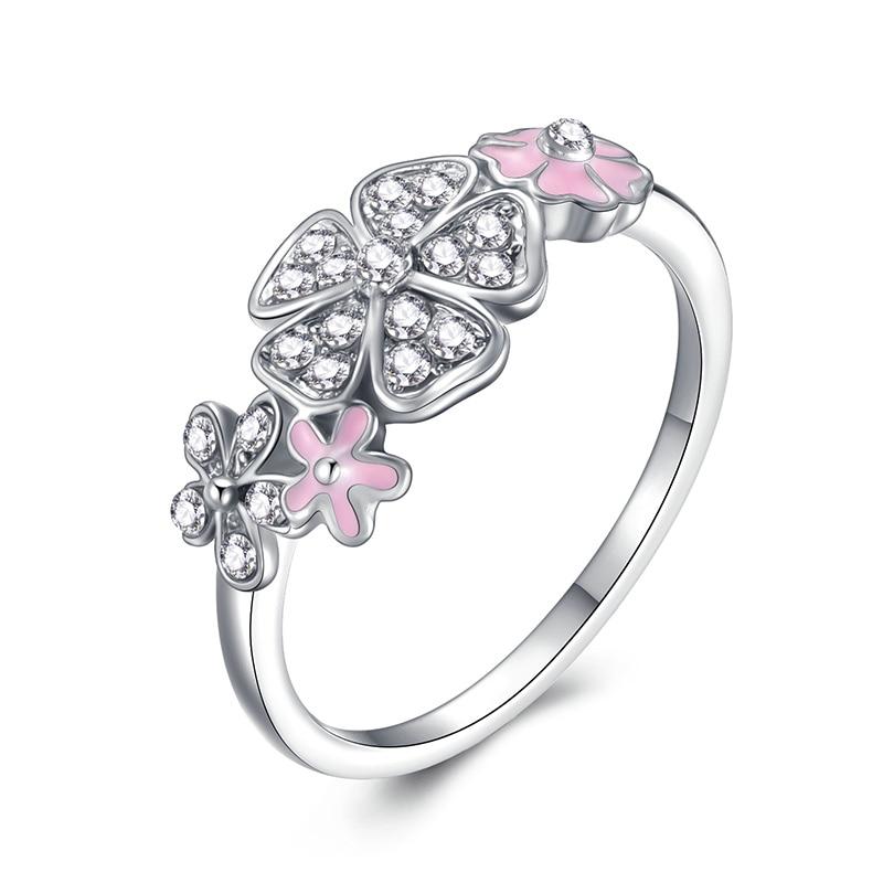 Модное Сверкающее циркониевое серебряное кольцо для женщин, цветочное сердце, корона, кольца на палец, фирменное кольцо, ювелирное изделие, Прямая поставка - Цвет основного камня: 2