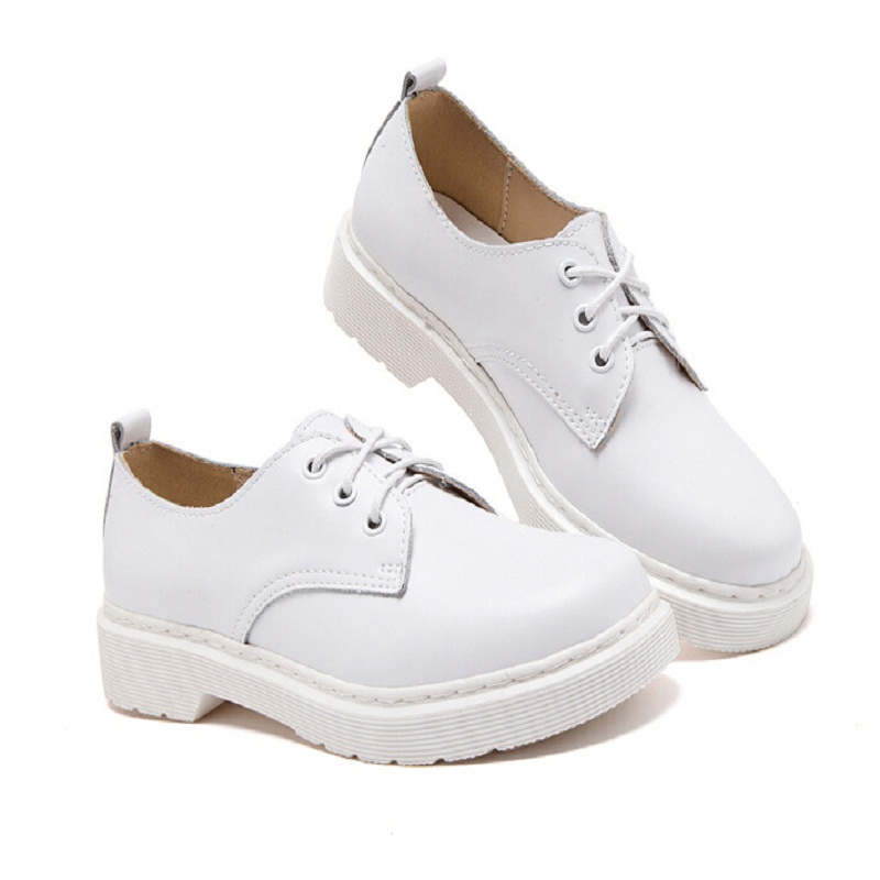 ФОТО Top Quality Genuine Leather Oxfords For Women Dr Martin Ankle Leather Shoes Female Spring Autumn Casual Flat Shoes