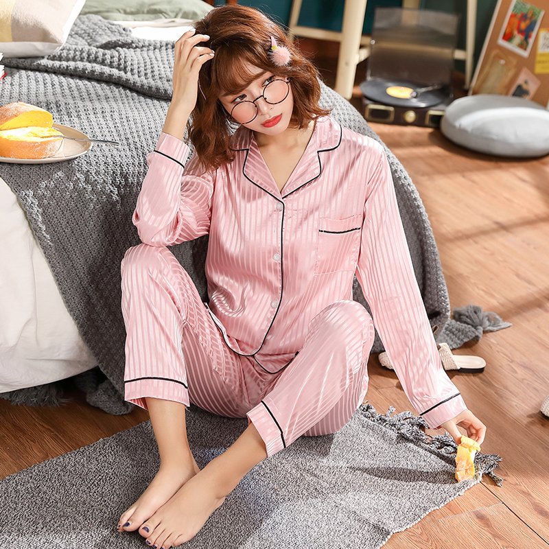 Women Nightshirt Sets WAVMIT Women Silk Pajama Set Girl Solid Color Stripes Pyjama Set Long Sleeve Sleepwear Women Top Long Pant