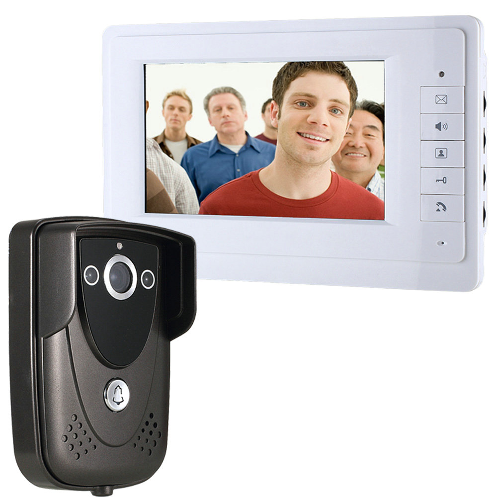 Free shipping Wired Color 7 TFT LCD Display 4-line Video Door Phone Doorbell Intercom System With IR Night Vision Camera free shipping wired new 9 inch tft lcd monitor video door phone intercom system with 1 night vision outdoor camera in stock