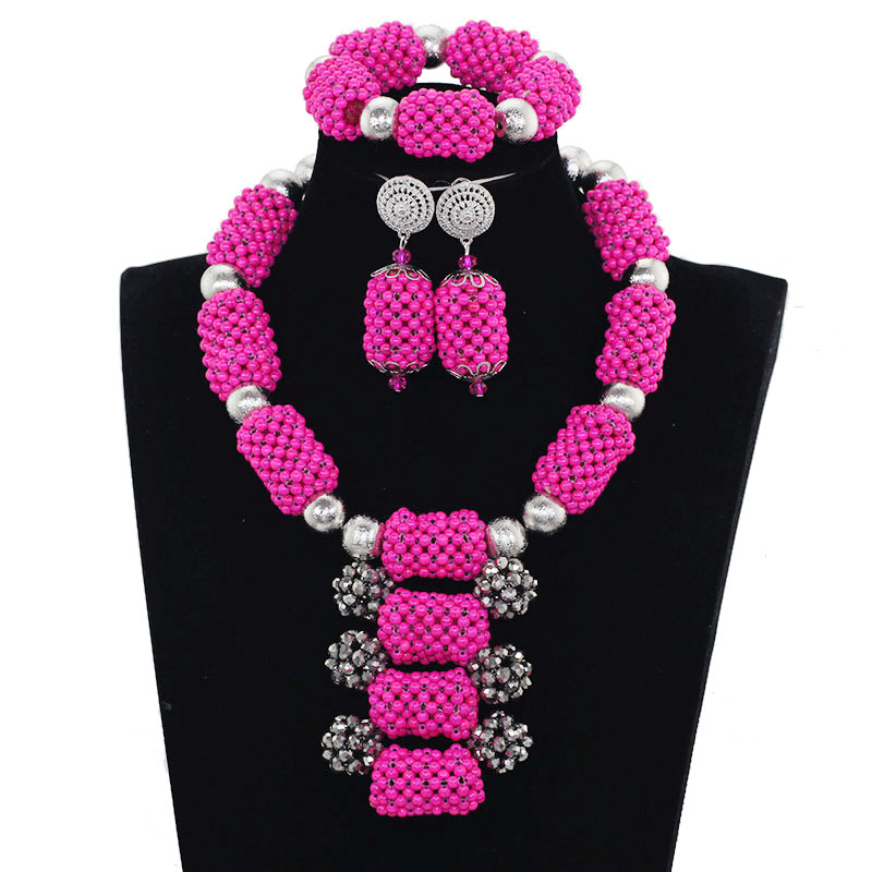 2017 New Nigerian Women Costume Jewelry Set Amazing Pink African Bead Statement Necklace Set Wedding Silver Free ShippingABH549