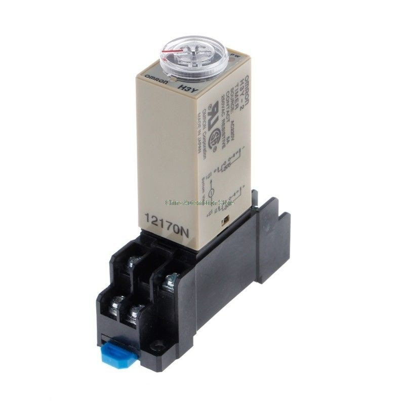 H3Y-2 DC 12V Delay Timer Time Relay 0 - 3 Minute with Base h3y 4 ac 220v delay timer time relay 0 5 sec with base