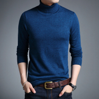 Mens Turtleneck Cashmere Sweater Autumn Winter Male Solid Slim Fit Warm Sweater High Collar Wool Sweater
