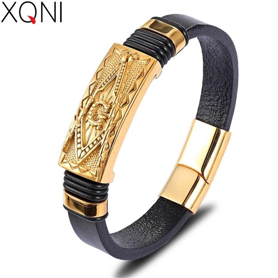 Xqni 2019 vários estilos pulseira masculina padrão animal significado comemorativo pulseira de couro genuíno pulseiras masculinas