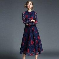 Vestido de encaje floral manga larga vintage 1