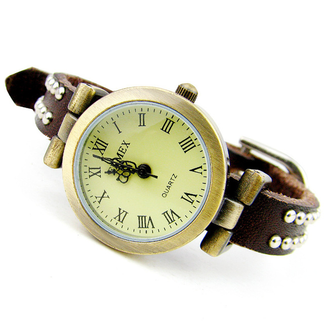 Enmex vintage table genuine leather hasp silver nailed watchband ladies watch champagne color elegant women's watch e321