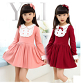 2017 Girls New Spring Autumn Long-Sleeved Sweet Dress  Turn-Down Collar Patchwork  Children Frilly Princess Dress