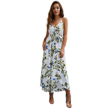 Original 2019 summer new V-neck split print straps jumpsuit  Jumpsuits Print N30D