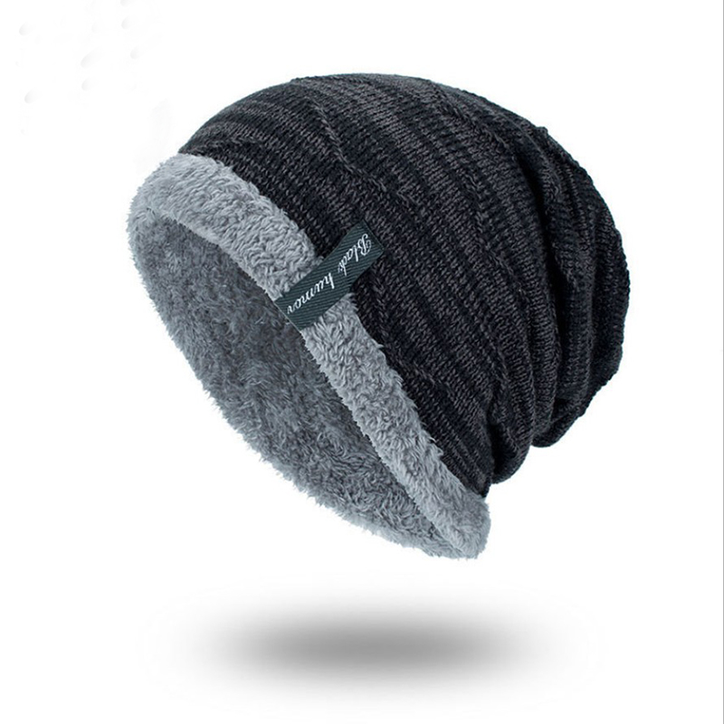 2018 fashion knitted black hats Men's winter hat Bonnet   Skullies     Beanie   Soft Knitted   Beanies   Cotton Super Warm Fall Hat