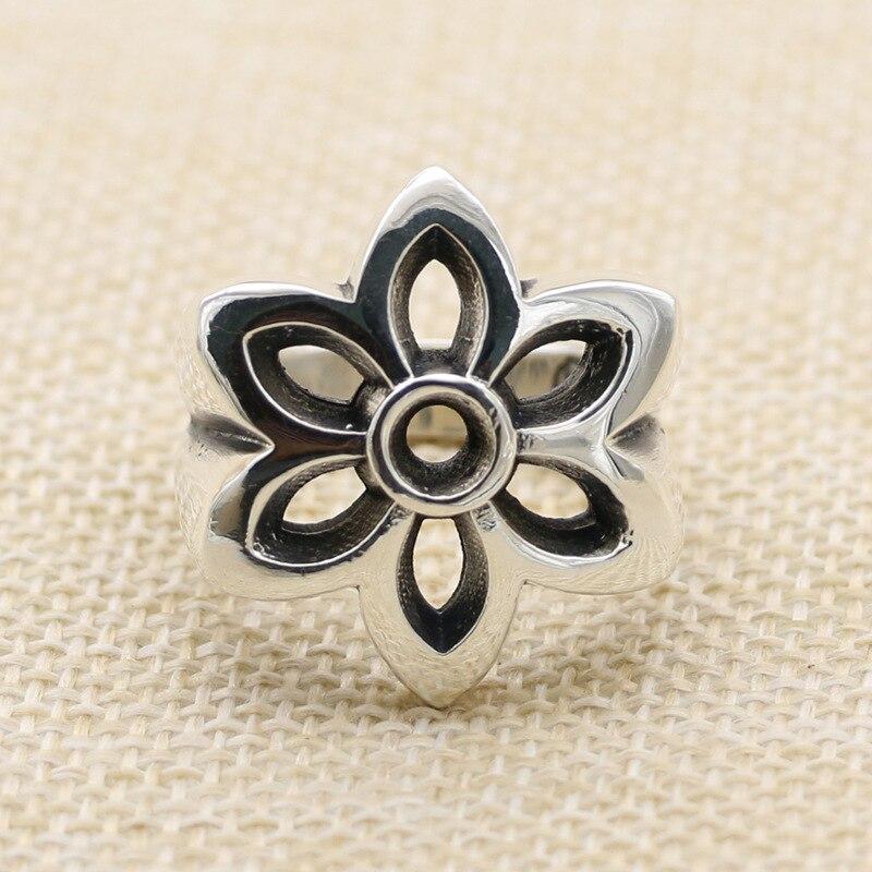 925 argent bague fleurs tempérament masculin Thai argent anneau largeur index restauration des manières antiques argent moyen bague