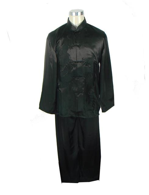 Black Chinese Men's Silk Satin Kung Fu Sets Embroidery Shirt Trousers Suit Traditional Martial Arts Clothing S M L XL XXL M0014
