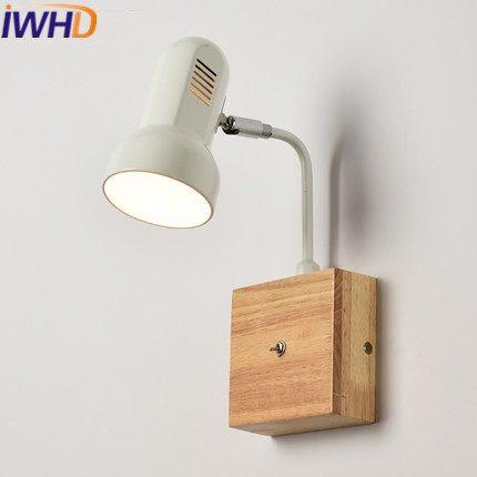 IWHD Nordic Style Led Wall Lamp Modern Iron Angle Adjustable Arm Sconce Wall Light With Switch  Home Lighting Wood Wanglamp top grade wood handcrafted swing arm light sconce led wall lamp nordic style home decoration lighting e27 black with switch