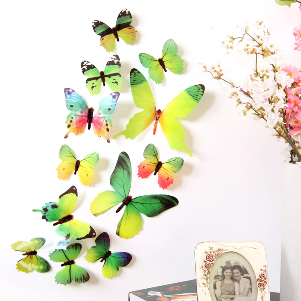 12 Pcs 3D DIY Wall Sticker Stickers Butterfly Home Decor Room Decorations  New Blue/Green/Pink/Purple/Yellow Drop Shipping 428 In Wall Stickers From  Home ...