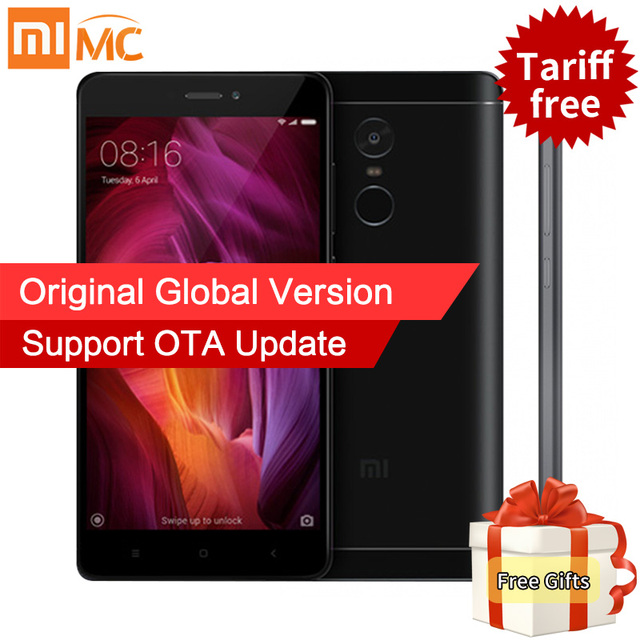Глобальный версия xiaomi redmi note 4 qualcomm 3 ГБ 32 ГБ мобильного телефона snapdragon 625 octa core 13mp miui 8.1 ce mi отпечатков пальцев id 4 Г