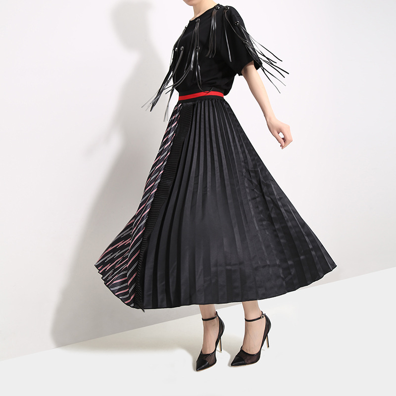 High Elastic Waist Black Hit Color Skirt New Spring Summer Women Fashion Tide Pleated Stitching Loose Half-body Skirt 852