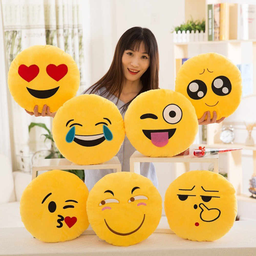 32cm Soft Emoji Smiley Emoticon Stuffed Plush Toy Doll Pillow Case Cover Bedroom winter Festive Wedding personalize Pillow newp#