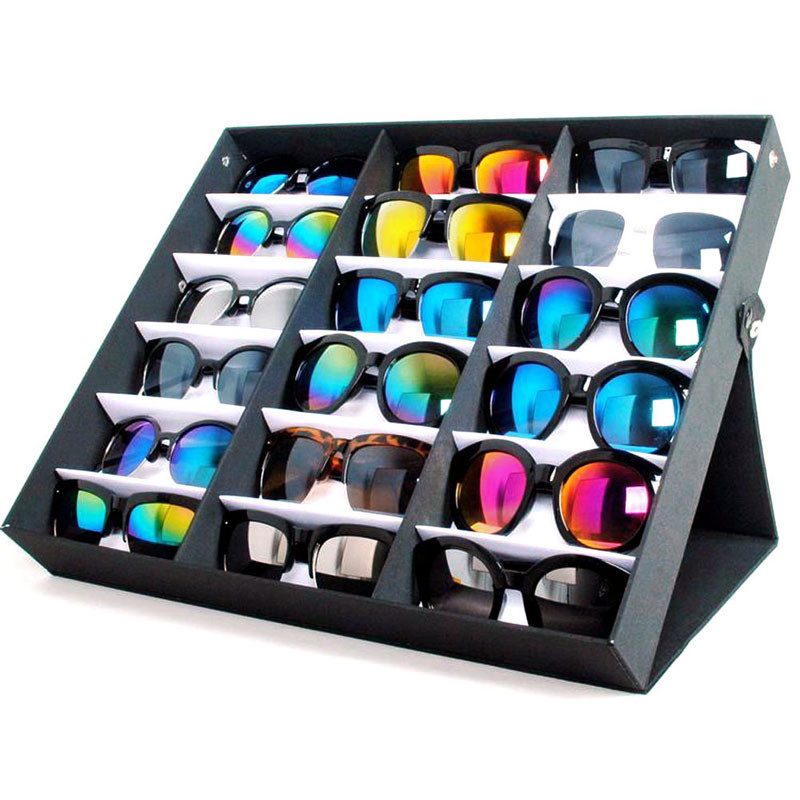 Waterproof glasses display storage box holder 18 Sunglasses Glasses Retail Shop Display Stand Storage Box Case Tray Black mordoa 12pcs glasses storage display case box eyeglass sunglasses optical display organizer frames tray 3d glasses display rack