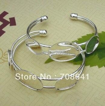 18x25mm/ 13x18mm Silver Plated Blank Bangle Base Oval 3-Bezel Cabochon Bracelet cuff Bangle Settings Crafts Cameo DIY Wholesale