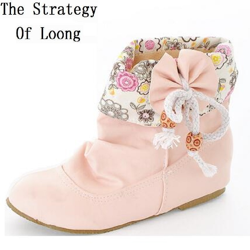 Plus Size Women Bowknot Short Boots 2016 New Spring Autumn Fashion Leather Boots Low Heels  Wedge Elevator Shoes 141206 side bowknot embellished plus size sweatshirts