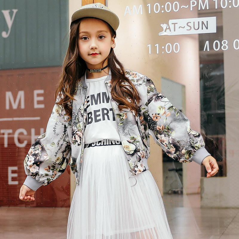2018 Teen Girls Floral Jacket Little Vintage Cool Zipper Coat for Baby Kids Active Outwear Age 4 5 6 7 8 9 10 11 12T Years Old прогулочная коляска cool baby kdd 6699gb t fuchsia light grey