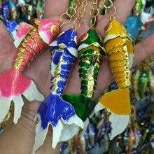 Enamel 10.5 Swing Fish Keychain Car Key Rings Chinese Cloisonne Goldfish Man Jewelry Bag Pendant Charm Accessories Ethnic Gift