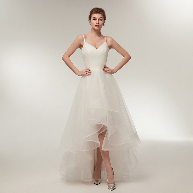 Sexy Wedding Dress Short Spaghetti Straps V Neckline High Low Bridal Party  Dresses Ruffles Tulle Beach