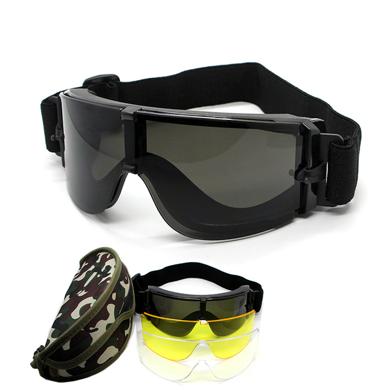 X800 Goggles Airsoft Paintball Gear Tactical Safety Googles Outdoor Hunting Military Shooting Protection Glasses 3 Lens