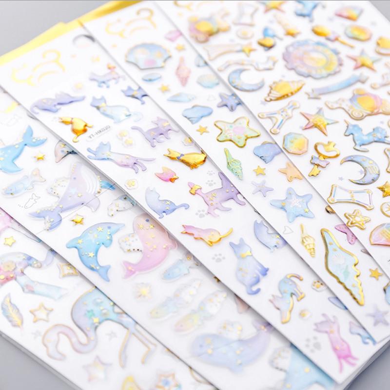 Купить с кэшбэком 1pcs/lot Cute Crystal hot stamping transparent stereo sticker childhood sticker child diy toy Calendar Album Deco sticker