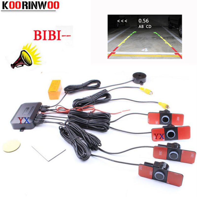 Koorinwoo Original Parktronic Dual Core Video Parkeringssensor 4 Backup Radar Alarm System Ljud Video System Synlig Avstånd