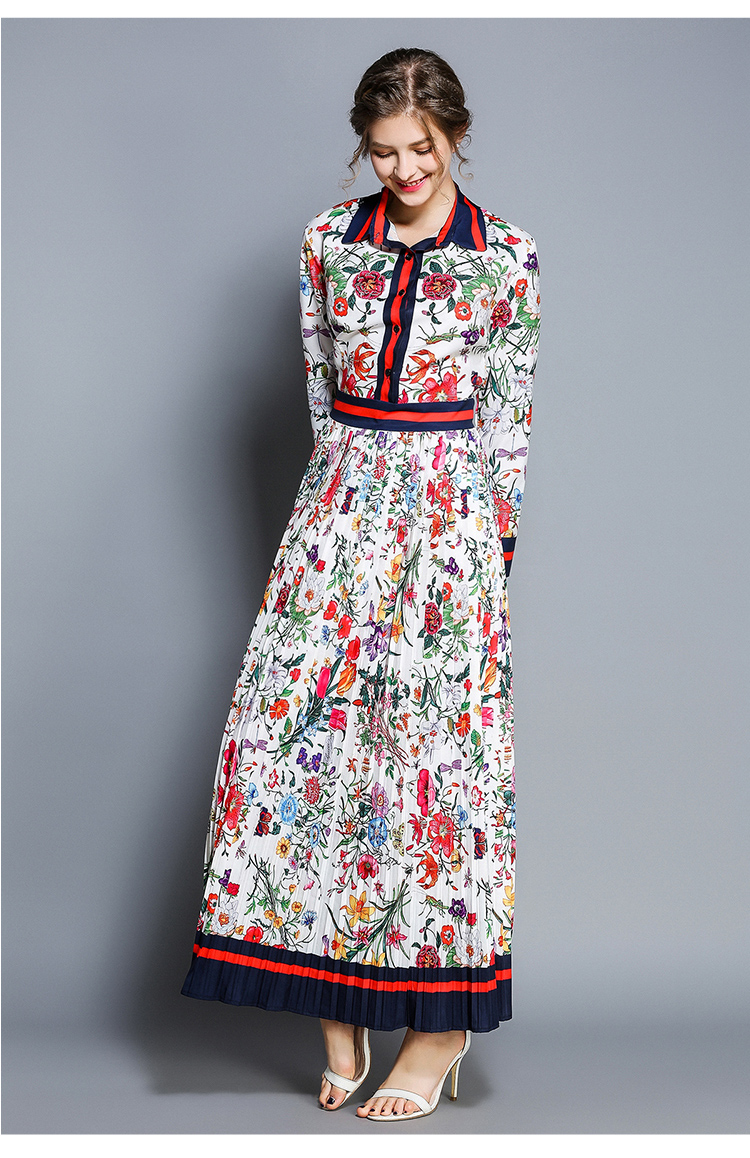 Elegant Turn-down Collar Long  Sleeve Flower Printed  Pleated Chiffon Dress