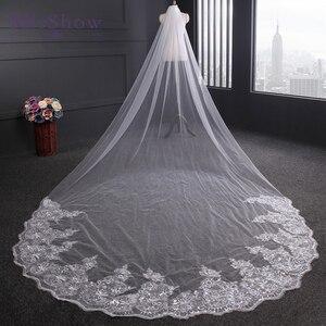 Image 2 - Velo de novia con borde de encaje de 4 metros, velo de novia con borde de encaje en color marfil y blanco, accesorios de boda para la catedral, 2019