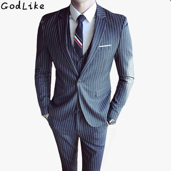 3 Pieces Suit Men Fashion Vertical Stripe Blazer Set Quality Dinner Party Prom Suits Groom Tuxedos Groomsmen Wedding Dress Suit