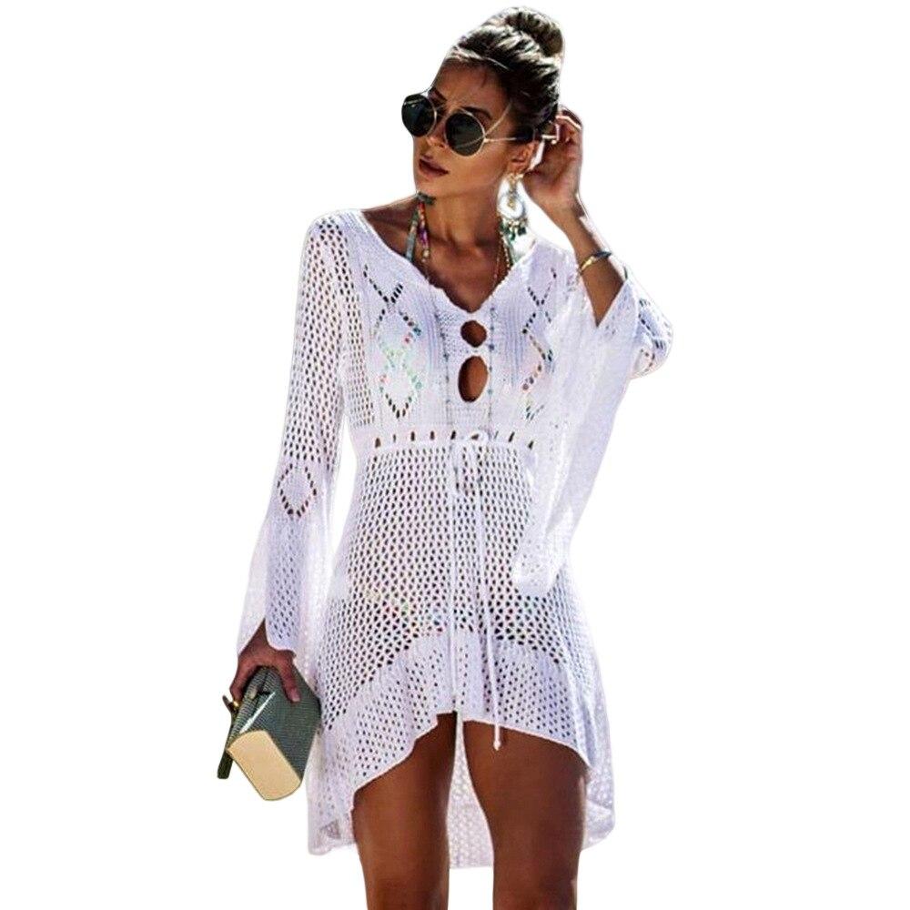 2019 nouvelle couverture plage femme Bikini Crochet tricoté gland cravate maillots de bain d'été maillot de bain couvrir Sexy transparent robe de plage