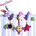 Feliz coelho cereja infantil plush rainbow spiral carrinho de berço em torno da cama chocalhos de brinquedo com música móvel para o bebê brincar